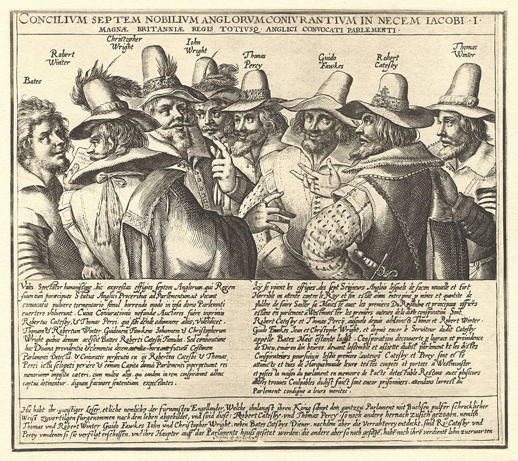 A contemporary engraving of eight of the thirteen conspirators, by Crispijn van de Passe. Missing are Digby, Keyes, Rookwood, Grant, and Tresham.