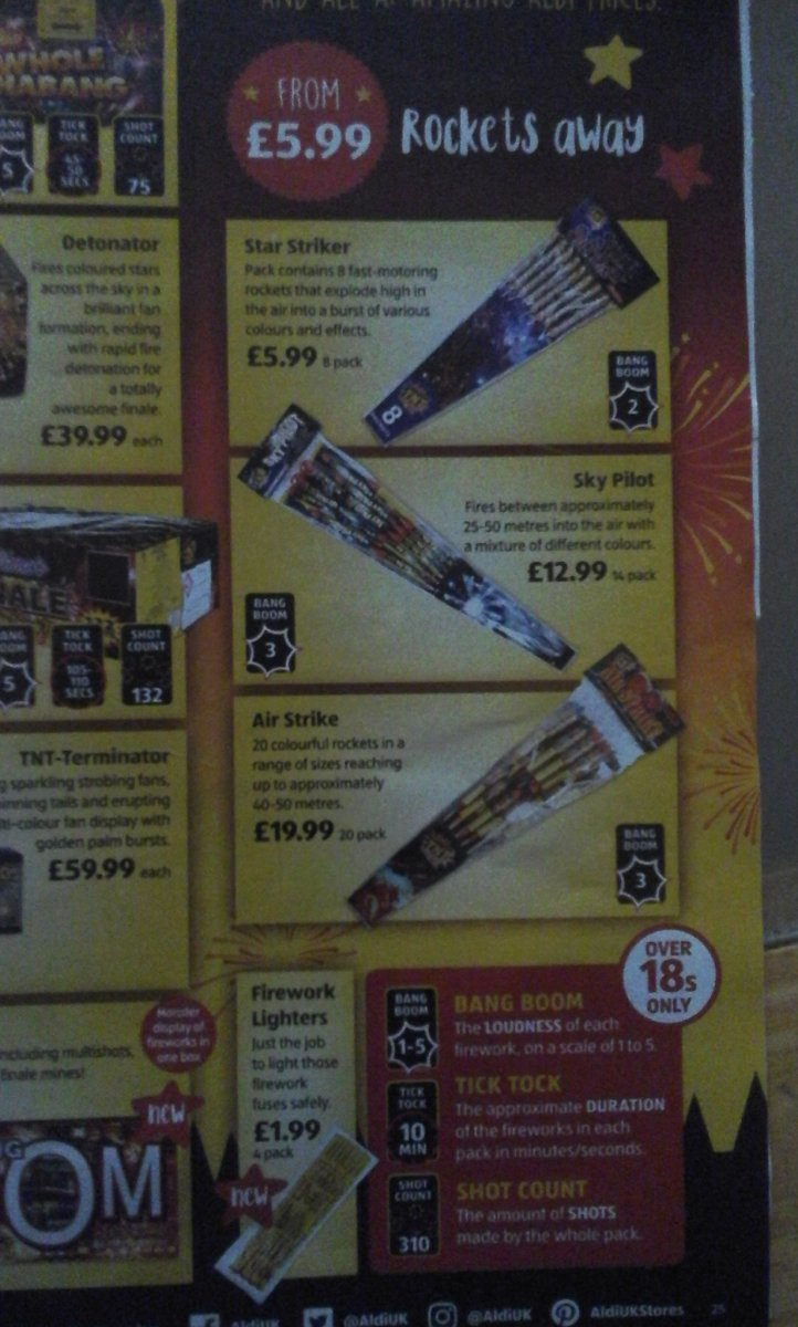3rd leaflet from aldi showing aldi firework range