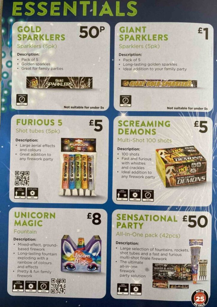 Asda Fireworks Leaflet 2020 essentials